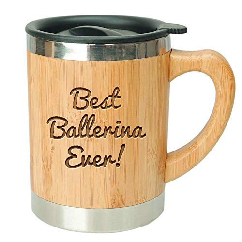 Best Ballerina Ever-Stainless Steel Bamboo Coffee Mug Insulated with Lid Ballerina Gifts,Ballerina Birthday Present,Gifts for Ballerinas,Gifts for Dancers,Best Dancer Gift,Ballerina Coffee Mug,Ballet