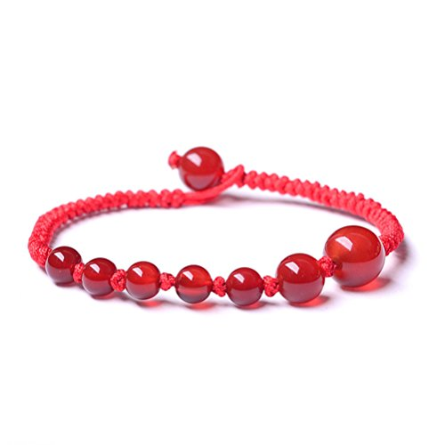 Red Crystal Rope Chain Bracelet Adjustable Gift For Mother Daughter Sports Style Handmade by Mrsrui