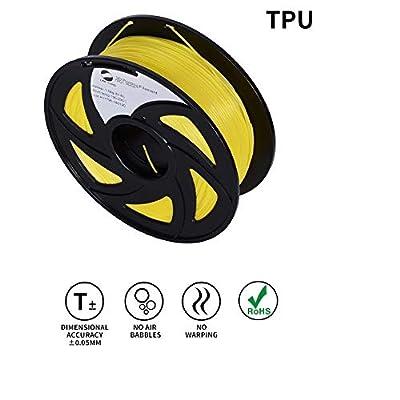 LEE FUNG 1.75mm TPU 3D Printing Filament Dimensional Accuracy +/- 0.05 mm 2.2 LB Spool DIY Material Tools (Yellow)