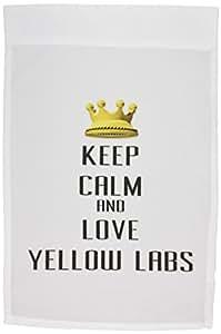 3dRose fl _ 121377_ 1corona dorada Keep Calm And Love amarillo Labs jardín bandera, 12por 45,72cm