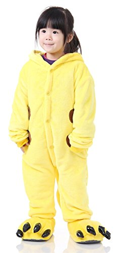 Wearing Costume Pikachu (Wildestdream Children Kigurumi Unisex Onesie Pajamas Halloween Cosplay Costume Pikachu)