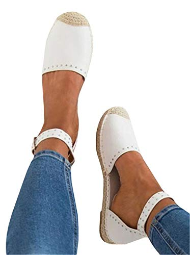 Mafulus Womens Espadrille Flat Sandals Ankle Strap Open Toe Summer Platform Wedge Sandals D - -