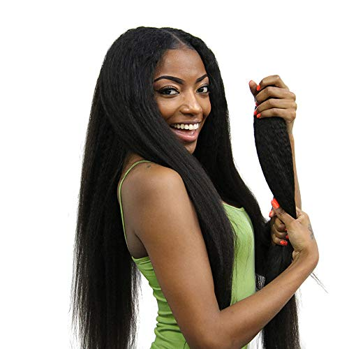 ISEE Hair 8A Kinky Straight Hair 3 Bundles Yaki Human Hair Weave Unprocessed Sew in Brazilian Virgin Remy Hair Extensions Natural Black (12 14 16)