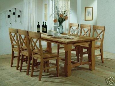 Tischgruppe Esstisch Tisch Stühle Kiefer massiv, Farbe:Gebeizt ...