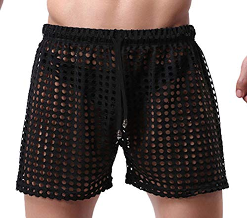 Linemoon Men's Mesh Shorts Sexy Lounge Hollow Boxer Underwear Black, Medium