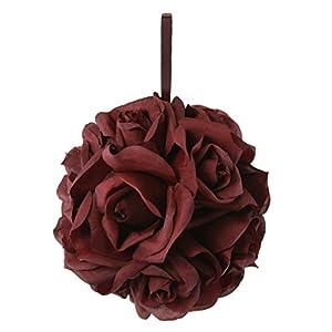 Garden Rose Kissing Ball - Burgundy - 6 Inch Pomander 19