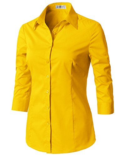 CLOVERY Women's Basic 3/4 Sleeve Formal Work Wear Simple Shirt with Stretch Yellow - Sleeve Shirt Denim Stretch 3/4
