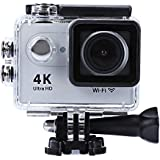 H9 Action Camera 4K Ultra HD 12MP WiFi Sport Cam Waterproof Underwater 30M Dual 2inch LCD Display 170° Wide Angle Lens 30 Accessories Kits (Silver)