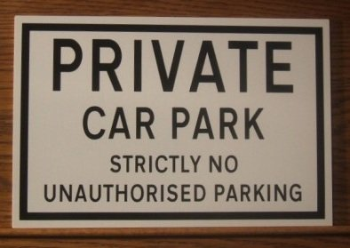 Private Car Park No Unauthorised Parking Sign Free P&P