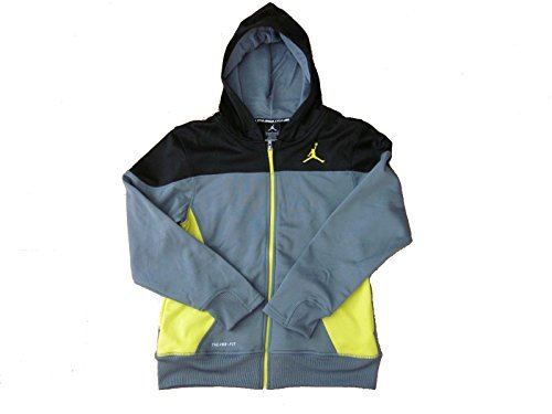 Boys Youth Jordan Therma Fit Zippered Hoodie (Large, Grey/Yellow/Black)