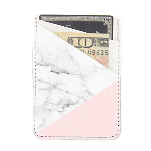 Obbii Baby Pink Marble PU Leather Card Holder for Back of Phone with 3M Adhesive Stick-on Credit Card Wallet Pockets for iPhone and Android Smartphones by Obbii (Image #4)
