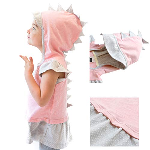 Mini Jiji Dino Toddler Girl T-Rex Dino Hoodie Peplum Tank with Sun Cap (2 yrs, Girl's Dino Tank) -
