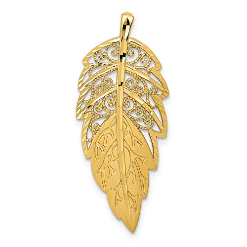 14k Yellow Gold Leaf Necklace Chain Slide Pendant Charm Outdoor Nature Fine Jewelry Gifts For Women For Her