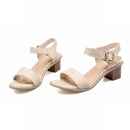 Carol Shoes Cute Womens Sweet Fashion Buckle Summer Simple Chunky Mid Heel Sandals Beige znelQ