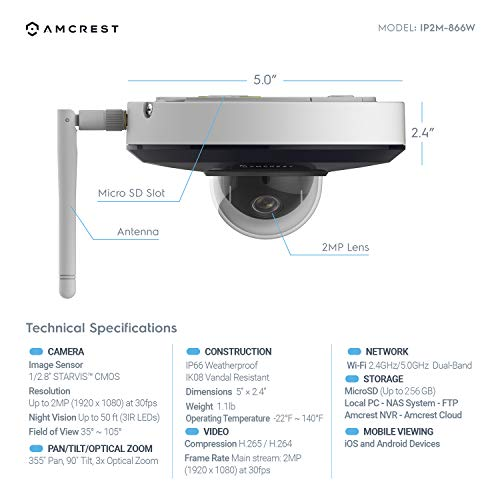 Amcrest ProHD 1080P PTZ WiFi Camera, 2MP Outdoor Vandal Dome IP Camera (3X Optical Zoom) IK08 Vandal-Proof, IP66 Weatherproof, Dual Band 5ghz/2.4ghz, 2019 Updated Firmware, Pan/Tilt IP2M-866W (White) by Amcrest (Image #3)