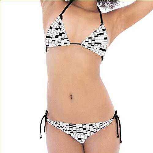 - iPrint Print Bikini,Crossword Puzzle Black White Boxes Girls,Personalized Customization