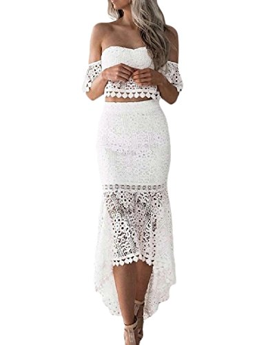 BSTBUWIN Womens Lace Top Bodycon Dress Mermaid Bottom Ruffle Off Shoulder Elegant White L by BSTBUWIN