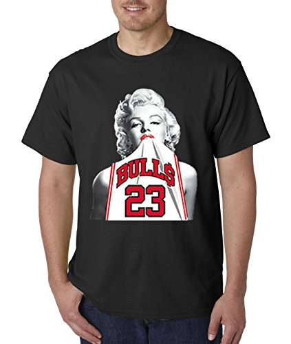 New Way 193 - Unisex T-Shirt Marilyn Monroe Bulls 23 Jordan Jersey Large Black ()