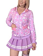 LittleForBig Women's Casual Regular Fit Long Sleeve Zip-up Drawstring Hoodie Sweetheart Jacket - Love Pattern