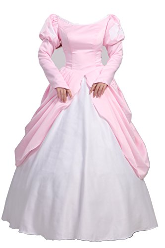 [Women's Halloween Cosplay Costumes Dress Pink Adult for Ariel Princess (M)] (Ariel Dress For Adults)