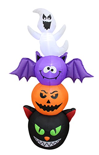 6 Foot Tall Halloween Inflatable Stacked Figures Totem Pole Ghost, Bat, Pumpkin and Cat Garden LED Lights Outdoor Indoor Holiday Decorations Blow up Yard Lawn Inflatables Home Family Outside -