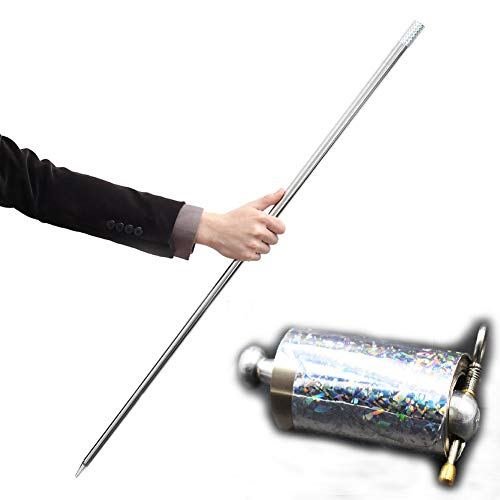 OUERMAMA Silver Metal Appearing Cane with Video Tutorial - Magician Stage Magic Trick