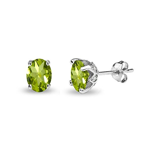 Sterling Silver Peridot and White Topaz Oval Crown Stud -