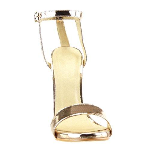 Angkorly - Chaussure Mode Sandale Escarpin stiletto sexy Chic femme lanière brillant Talon haut aiguille 12.5 CM - Champagne