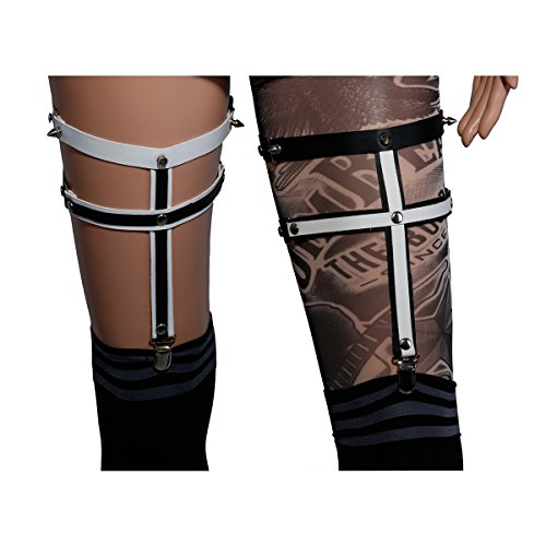 NE Norboe Womens Sexy Leg Harness Garter Belts 2 Straps Elastic Rivet Studded Legging Ring (white)