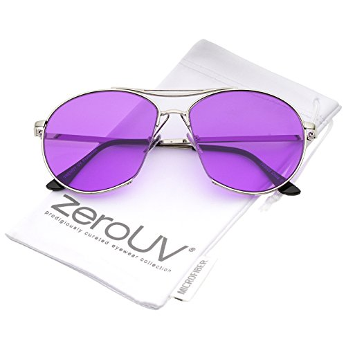 zeroUV - Oversize Semi-Rimless Brow Bar Round Flat Lens Aviator Sunglasses 59mm (Silver / - Aviator 59mm Semi Rimless Sunglasses