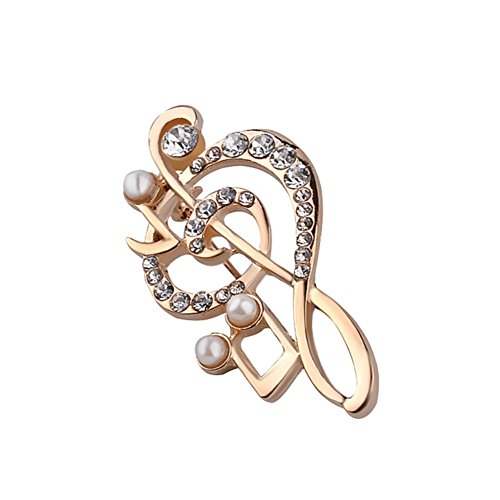 Musician Brooch Pin (Dwcly Treble Clef Music Note Brooch Pin Crystal Corsage Brooch Pin Breastpin for Musicians)