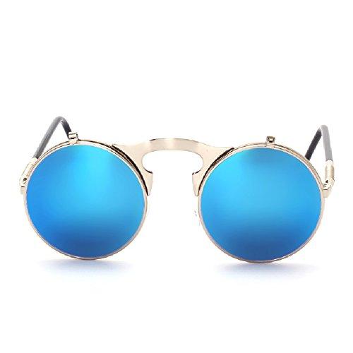 Steampunk Miroir Vintage Hommes soleil Rétro Lunettes rond Lens Cadre Bleu Cercle Sunglasses Argent Femmes de Revêtement 51Uaw1Axq