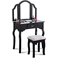 Giantex Tri Folding Mirror Vanity Makeup Table Set with Cushioned Stool & Storage Drawer Wood Furniture, Black