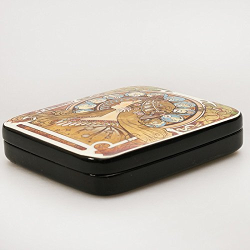 Beautiful Hand-painted Papier-mache Lacquer Box for Jewelry Zodiac Lacquer Box (A. Mucha) Great Gift for Women