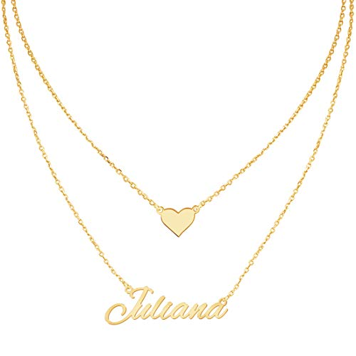 Layered Choker Name Necklace Personalized with Heart, Custom Nameplate Pendant 18K Gold Plated Christmas Gift