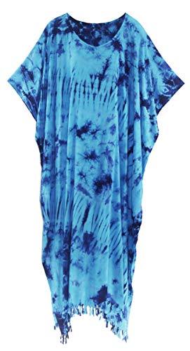 (Beautybatik Blue Tie Dye Caftan Kaftan Loungewear Maxi Long Dress 3X)
