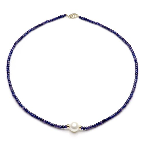- 14k Yellow Gold 4mm Simulated Blue Sapphire 9-9.5mm White Freshwater Cultured Pearl Necklace, 18