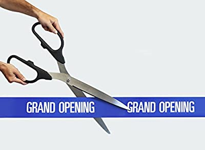 "25"" Black/Silver Ceremonial Ribbon Cutting Scissors with 5 Yards of 4"" Blue Grand Opening Ribbon"