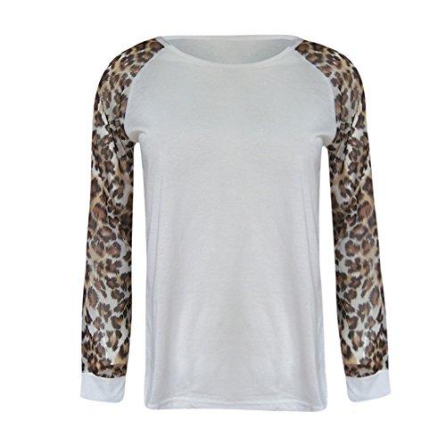 Rovinci☆ Mujeres Otoño Invierno Casual Cómoda Leopardo Blusa de Manga Larga Moda Señoras Camiseta de Gran tamaño Tops Plus Size: Amazon.es: Ropa y ...