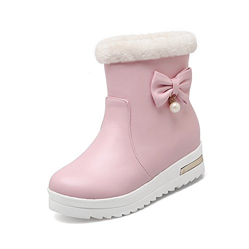 Gold Round Pink Boots Spun Platform BalaMasa Ladies Bowknot Imitated Toe Leather XvE7KFq