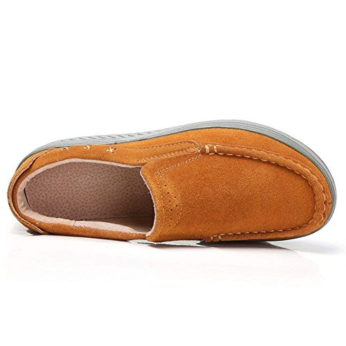 Kemosen Platform Wedge Loafers Shoes for Women Comfortable Leather Suede Moccasins Sneakers Slip On Walking Shoes Ladies Brown aoL83MKH