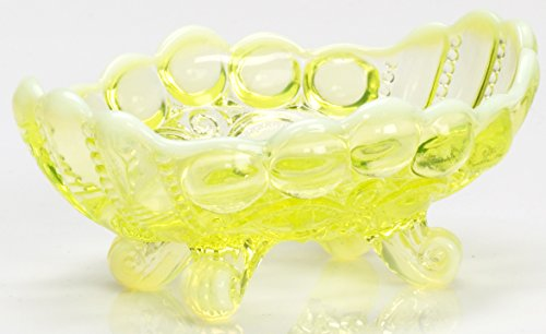 - Jam / Nut Dish - Eyewinker - Vaseline Opalescent - Mosser USA
