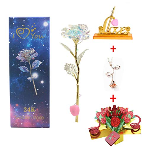 Upgraded Galaxy LED Rose Mother's Day 2019 Gift Crystal LED Light Rose Gold Rose Necklace 3D Pop Up Greeting Card Beauty & The Beast Anniversary Valentines Day Birthday Wedding Engagement (UpgdCRD)