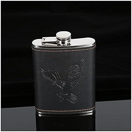QQGGTongFeng Petaca, 7oz Portátil de Acero Inoxidable Hip Flask PU Patrón de Cuero Pocket Pocket Flask Whiskey Botella de Vino Gifts de los Hombres para los Hombres (Size : 7oz (Black Eagle))