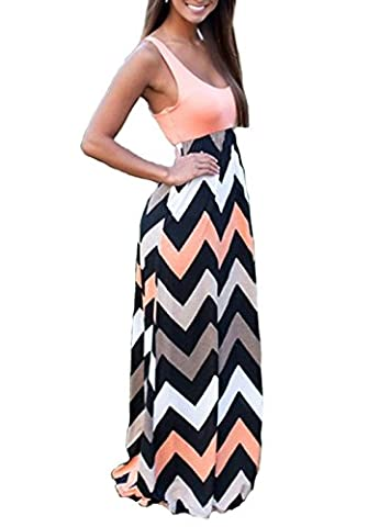 Shangke Womens Ladies Striped Zig Zag Scoop Neck Chevron Print Tank Maxi Long Party Dress (XL, - Skirts Sleeveless Knit Dress