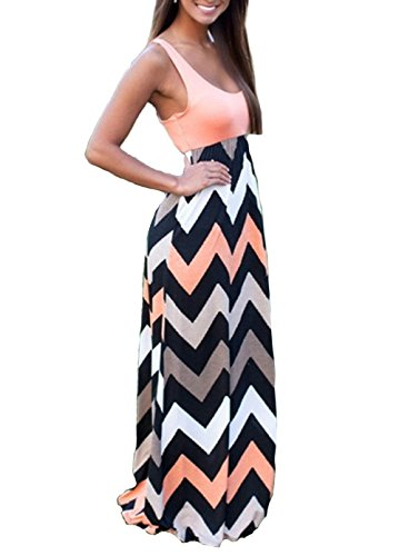 Shangke Womens Ladies Striped Zig Zag Scoop Neck Chevron Print Tank Maxi Long Party Dress (L, pink)
