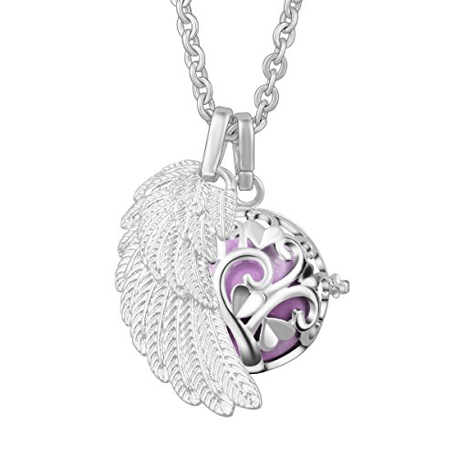 EUDORA Harmony Bola Tree of Love 20mm Pendant Necklace & Angel Wing, 30''Chain Orchid ()