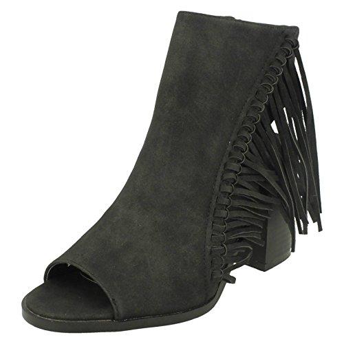 Damen Spot On Open Fuß, und offenes Knöchel Reißverschluss Stiefel mit lange Fransen Schwarz