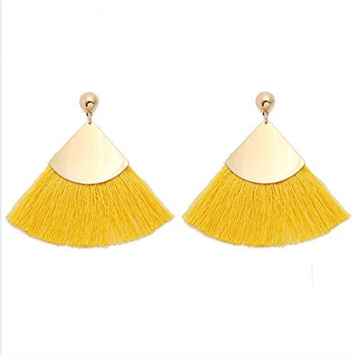 MOOCHI Fan Shape Bohemia Tassel Mental& Thread Drop Dangle Earrings