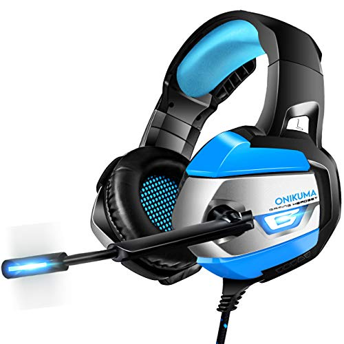 ONIKUMA Headset and Mouse Combo, Headphones for PS4, Xbox One, PC with Noise Cancelling Mic. Ergonomic Gaming Mice with Advanced Sensor, 4 Adjustable DPI & Colorful Breathing LED Lights (K5-337)